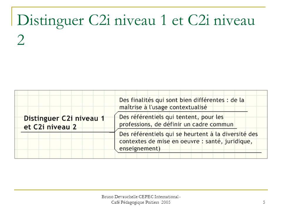 Bruno Devauchelle CEPEC International - Café Pédagogique Poitiers 2005 5 Distinguer C2i niveau 1 et C2i niveau 2