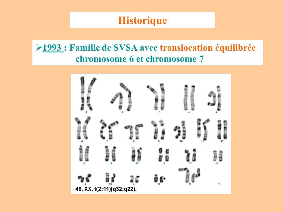 Coségrégation entre SASV et translocation Curran et al., Cell 1993, 73:159-168