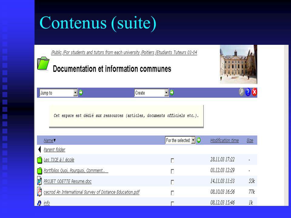 Contenus (suite)
