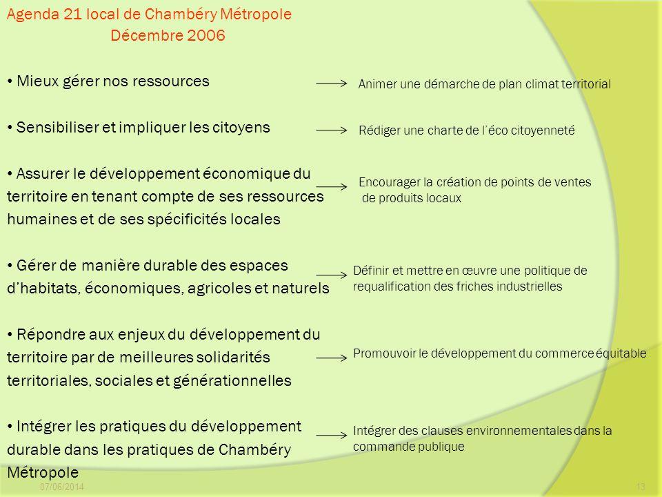 07/06/201413 Agenda 21 local de Chambéry Métropole Décembre 2006 Mieux gérer nos ressources Sensibiliser et impliquer les citoyens Assurer le développ