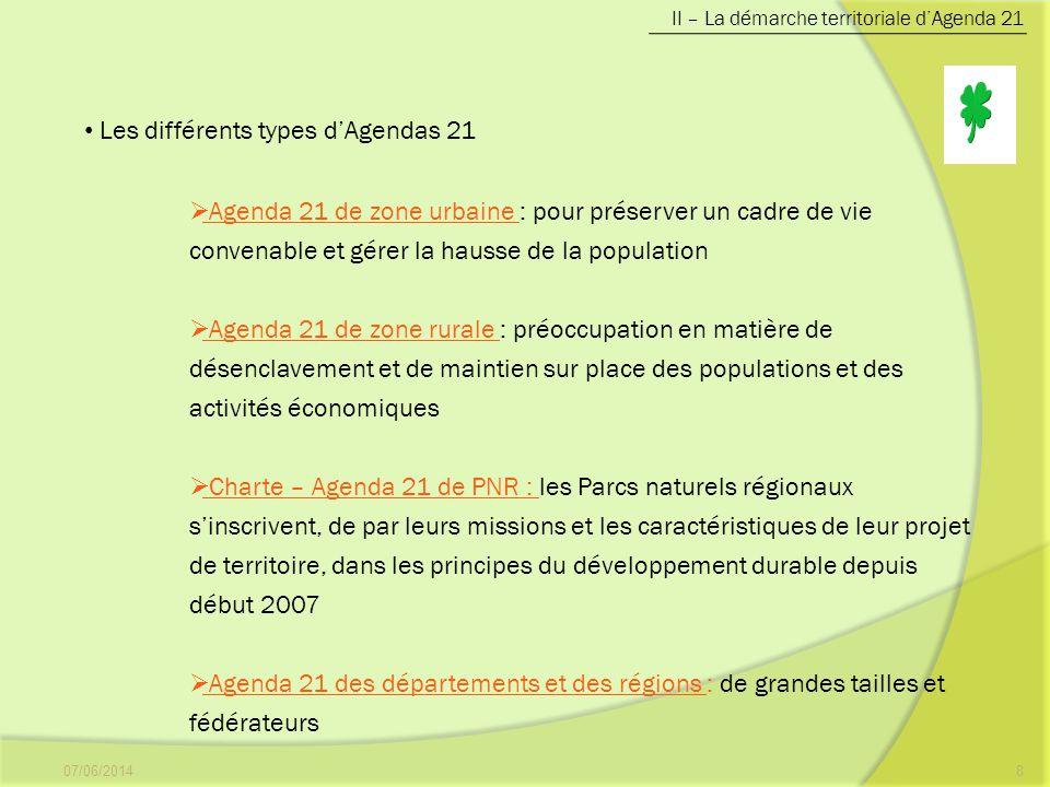 07/06/20148 II – La démarche territoriale dAgenda 21 Les différents types dAgendas 21 Agenda 21 de zone urbaine : pour préserver un cadre de vie conve