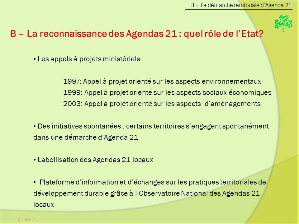 07/06/20149 B – La reconnaissance des Agendas 21 : quel rôle de lEtat? II – La démarche territoriale dAgenda 21 Les appels à projets ministériels 1997