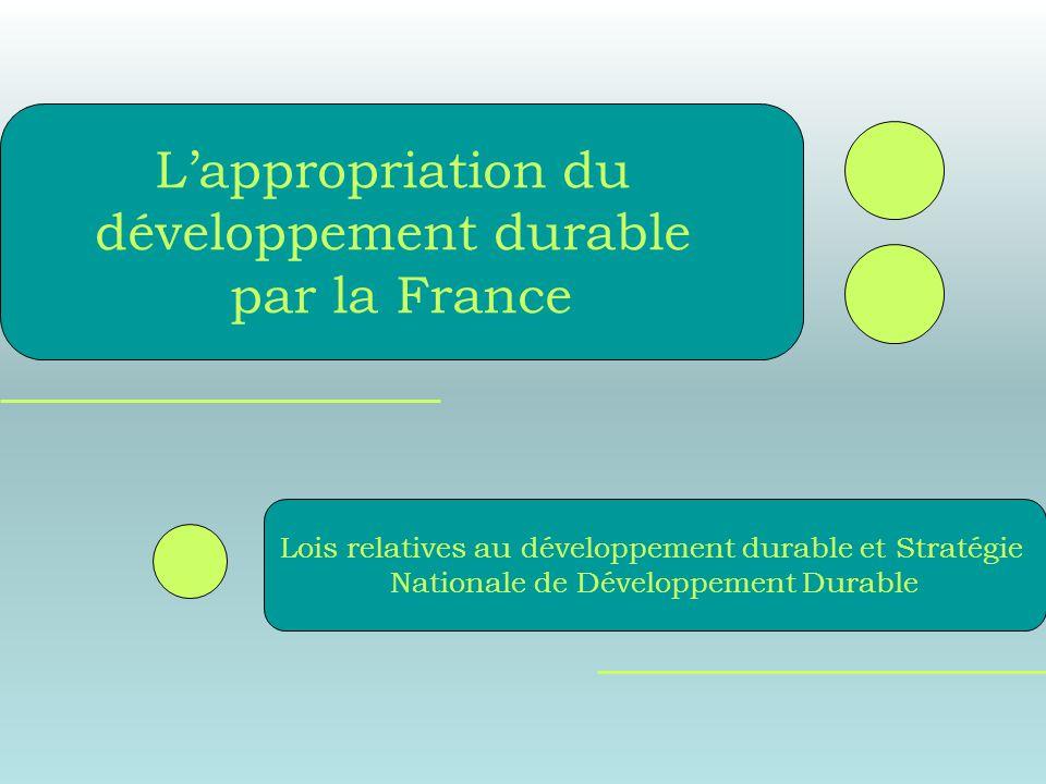 Lois relatives au développement durable et Stratégie Nationale de Développement Durable Lappropriation du développement durable par la France