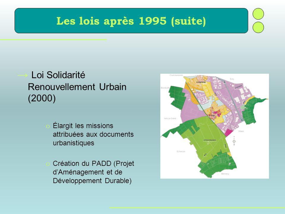 Loi Solidarité Renouvellement Urbain (2000) o Élargit les missions attribuées aux documents urbanistiques o Création du PADD (Projet dAménagement et d