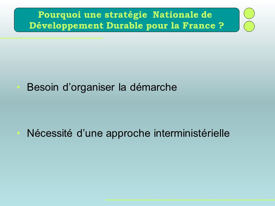 Besoin dorganiser la démarche Nécessité dune approche interministérielle Pourquoi une stratégie Nationale de Développement Durable pour la France ?