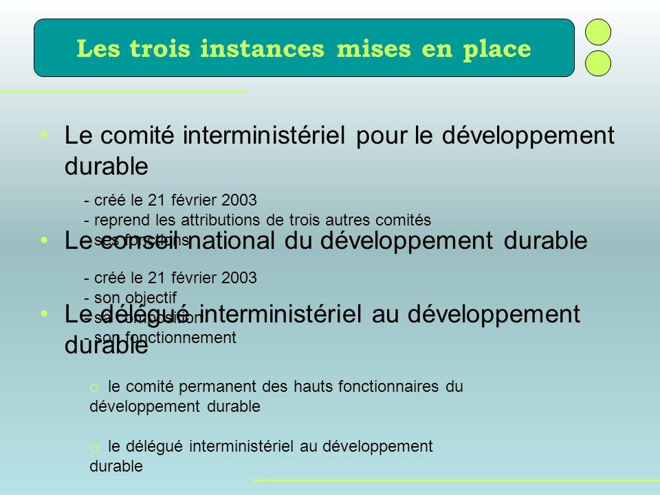 Le comité interministériel pour le développement durable Le conseil national du développement durable Le délégué interministériel au développement dur