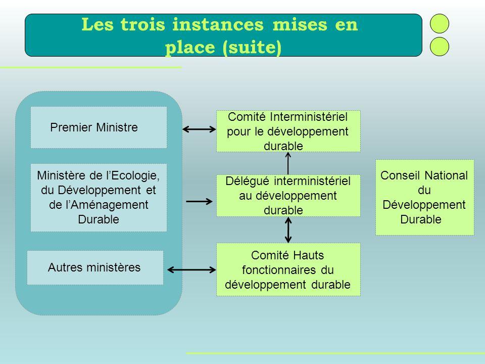 durable Les trois instances mises en place (suite) Premier Ministre Ministère de lEcologie, du Développement et de lAménagement Durable Autres ministè
