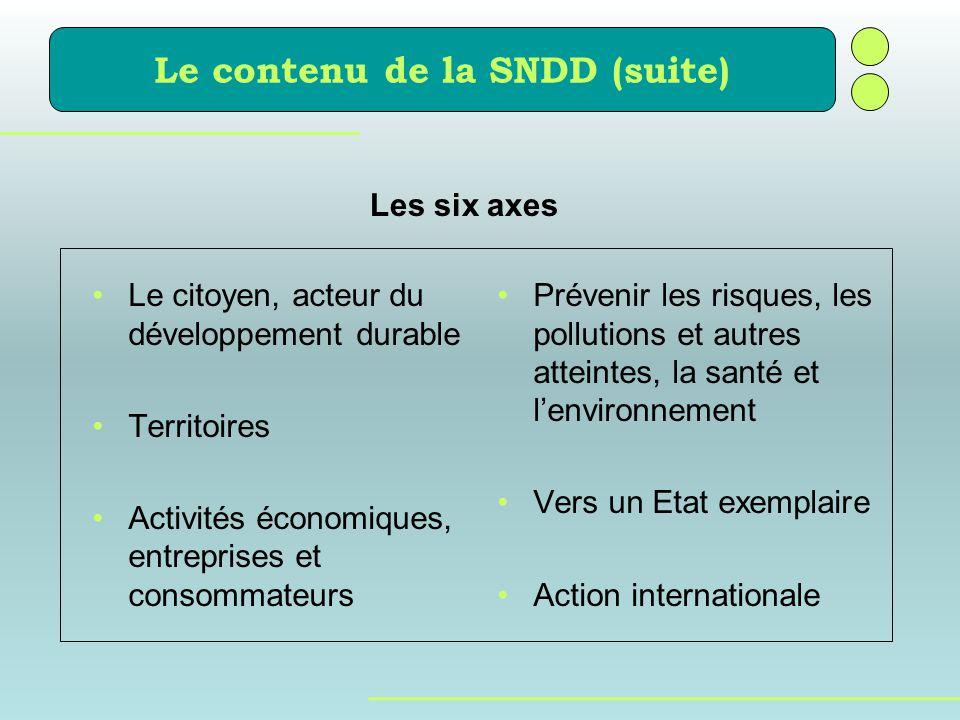 Le contenu de la SNDD (suite) Prévenir les risques, les pollutions et autres atteintes, la santé et lenvironnement Vers un Etat exemplaire Action inte