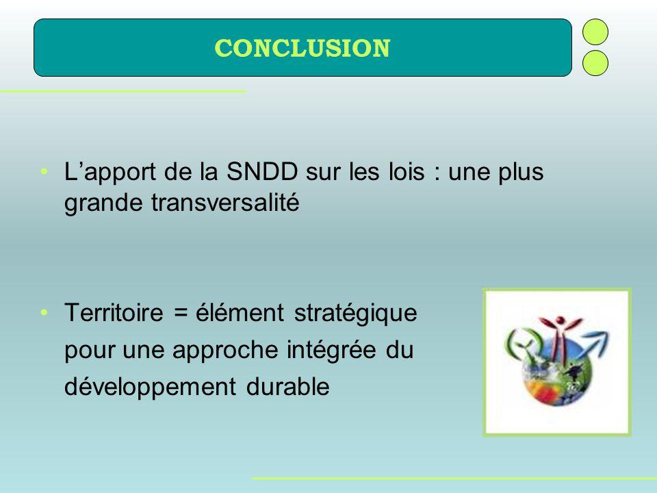 Lapport de la SNDD sur les lois : une plus grande transversalité Territoire = élément stratégique pour une approche intégrée du développement durable