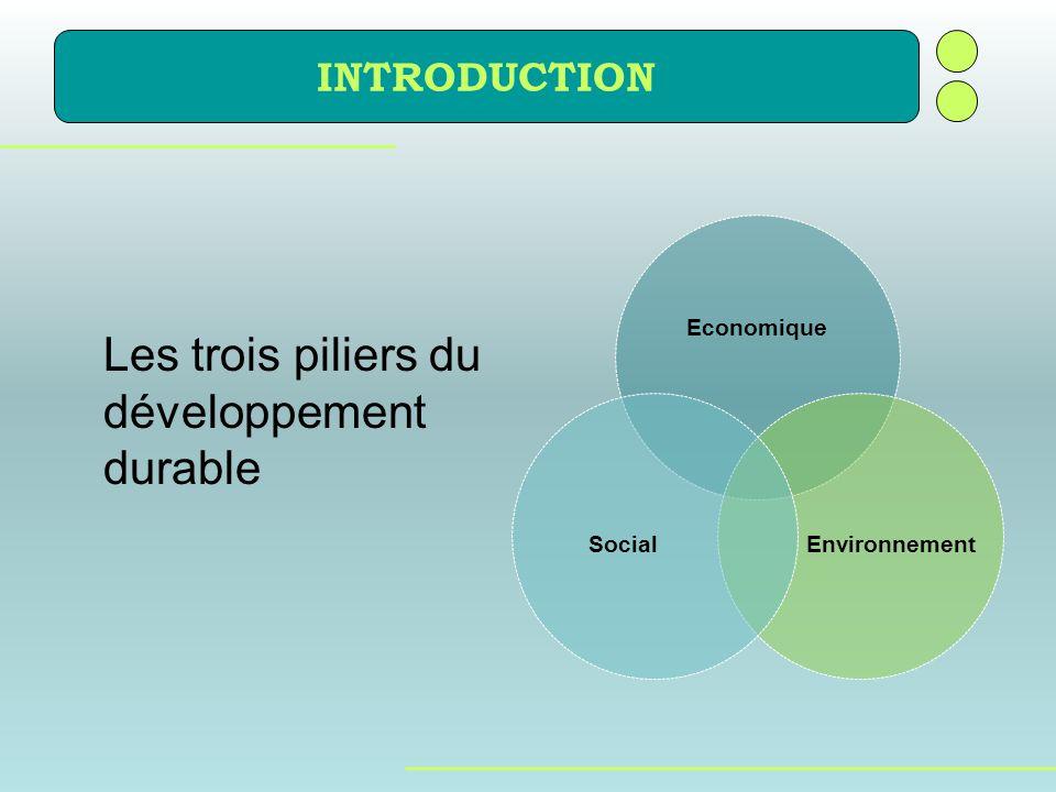 INTRODUCTION Economique EnvironnementSocial Les trois piliers du développement durable
