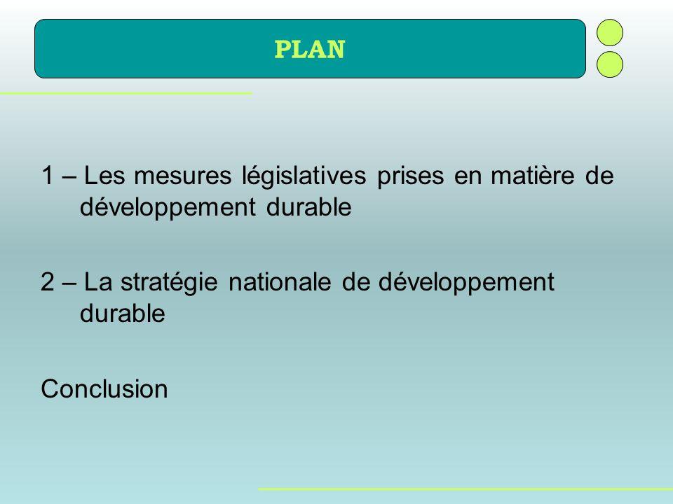 1 – Les mesures législatives prises en matière de développement durable 2 – La stratégie nationale de développement durable Conclusion PLAN