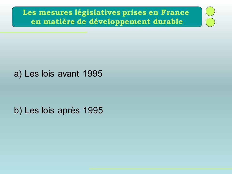 a) Les lois avant 1995 b) Les lois après 1995 Les mesures législatives prises en France en matière de développement durable