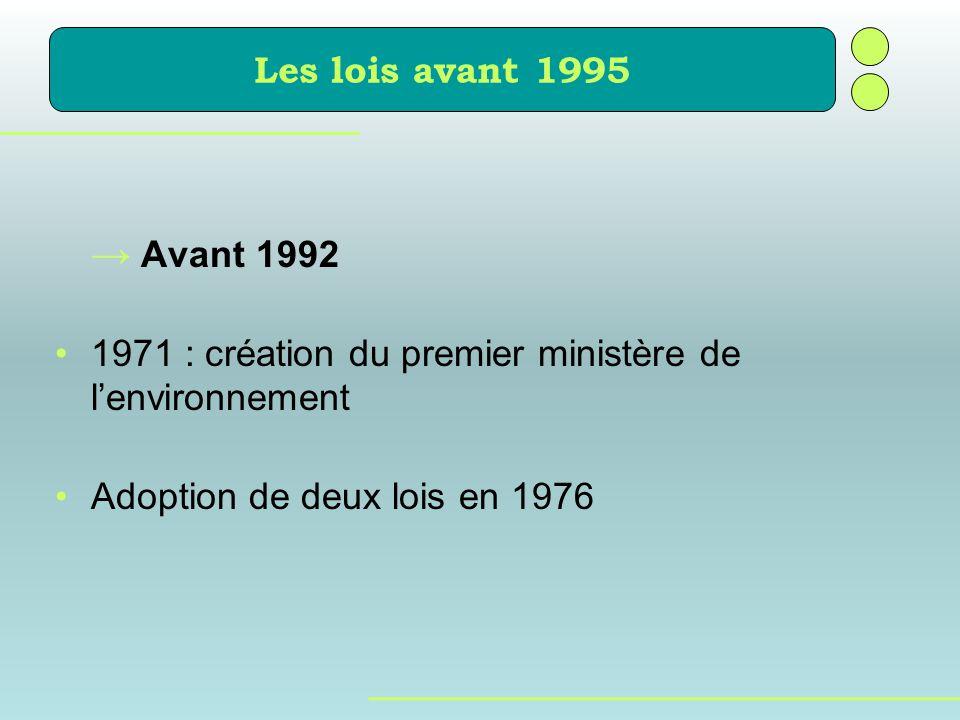 Avant 1992 1971 : création du premier ministère de lenvironnement Adoption de deux lois en 1976 Les lois avant 1995