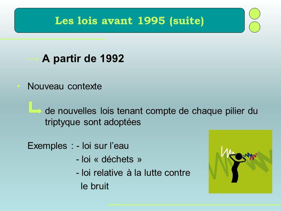 A partir de 1992 Nouveau contexte de nouvelles lois tenant compte de chaque pilier du triptyque sont adoptées Exemples : - loi sur leau - loi « déchet