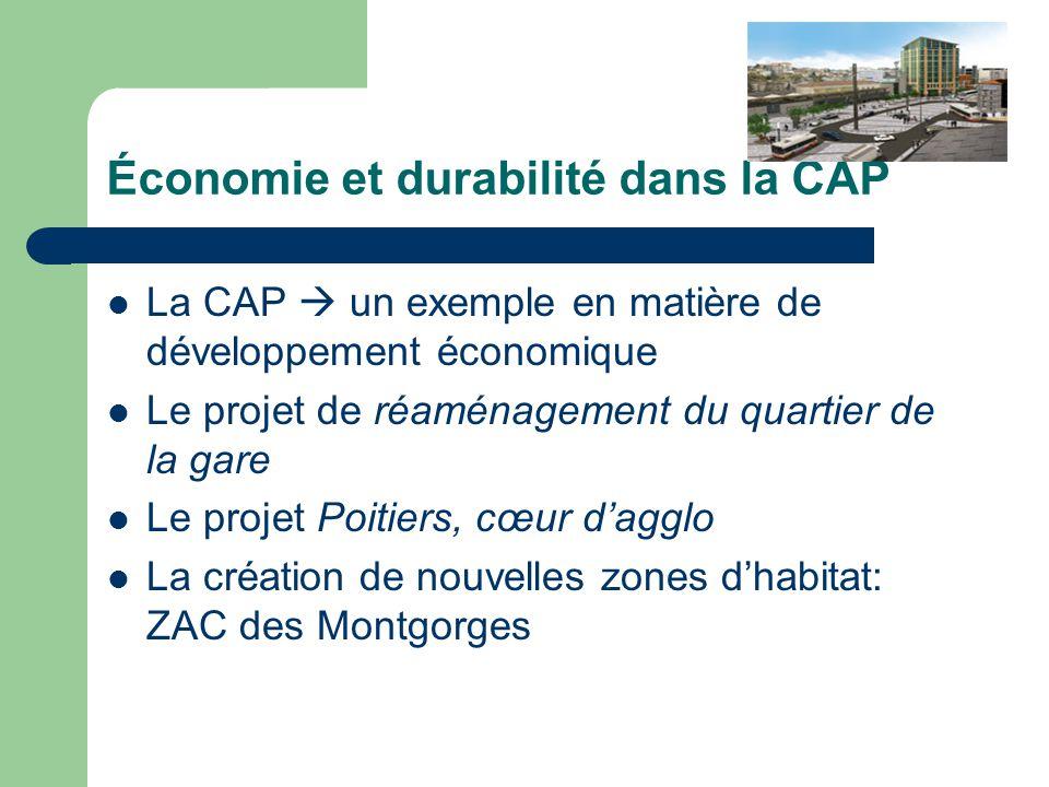 Économie et durabilité dans la CAP La CAP un exemple en matière de développement économique Le projet de réaménagement du quartier de la gare Le proje