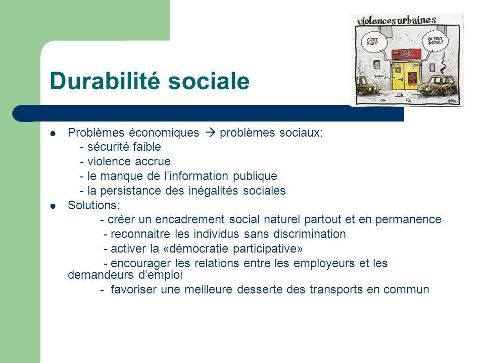 Durabilité sociale Problèmes économiques problèmes sociaux: - sécurité faible - violence accrue - le manque de linformation publique - la persistance