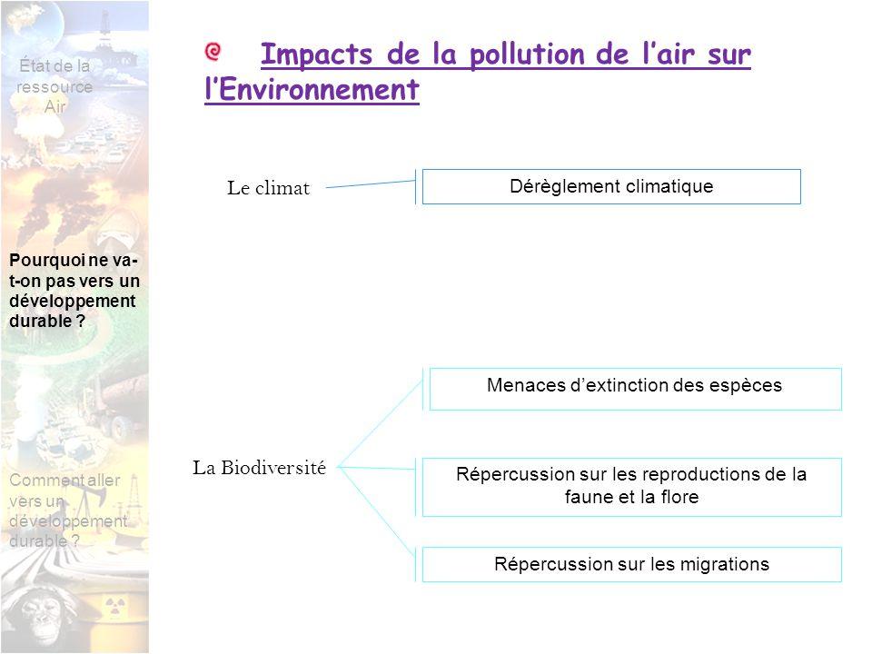 Impacts de la pollution de lair sur lEnvironnement Le climat La Biodiversité Dérèglement climatique Menaces dextinction des espèces Répercussion sur les reproductions de la faune et la flore Répercussion sur les migrations État de la ressource Air Pourquoi ne va- t-on pas vers un développement durable .