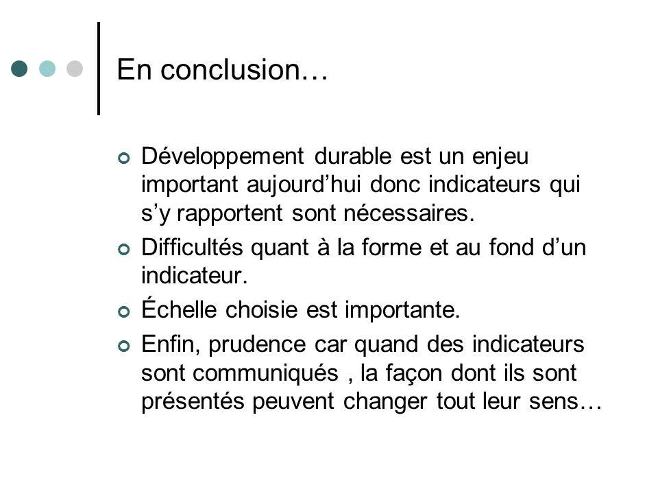 En conclusion… Développement durable est un enjeu important aujourdhui donc indicateurs qui sy rapportent sont nécessaires. Difficultés quant à la for