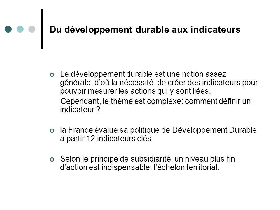 Du développement durable aux indicateurs Le développement durable est une notion assez générale, doù la nécessité de créer des indicateurs pour pouvoi
