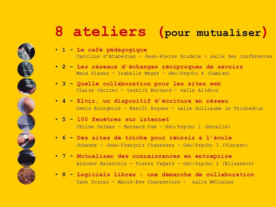 8 ateliers ( pour mutualiser ) 1 - Le café pédagogique Caroline dAtabekian – Jean-Pierre Roudeix – salle des conférences 2 - Les réseaux déchanges réc