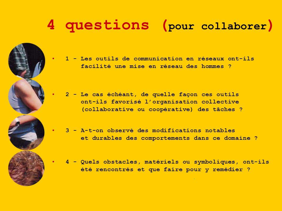 4 questions ( pour collaborer ) 1 - Les outils de communication en réseaux ont-ils facilité une mise en réseau des hommes ? 2 - Le cas échéant, de que