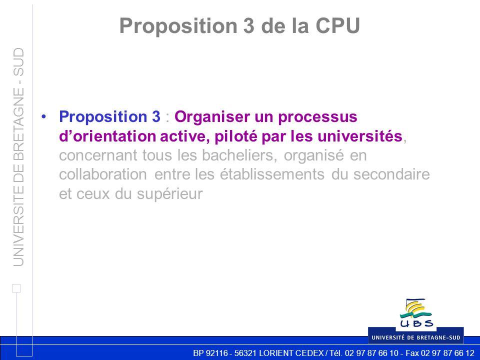 BP 92116 - 56321 LORIENT CEDEX / Tél. 02 97 87 66 10 - Fax 02 97 87 66 12 UNIVERSITE DE BRETAGNE - SUD Proposition 3 de la CPU Proposition 3 : Organis