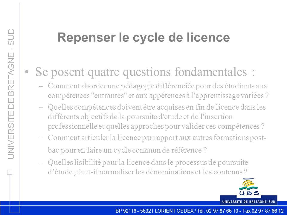 BP 92116 - 56321 LORIENT CEDEX / Tél. 02 97 87 66 10 - Fax 02 97 87 66 12 UNIVERSITE DE BRETAGNE - SUD Repenser le cycle de licence Se posent quatre q