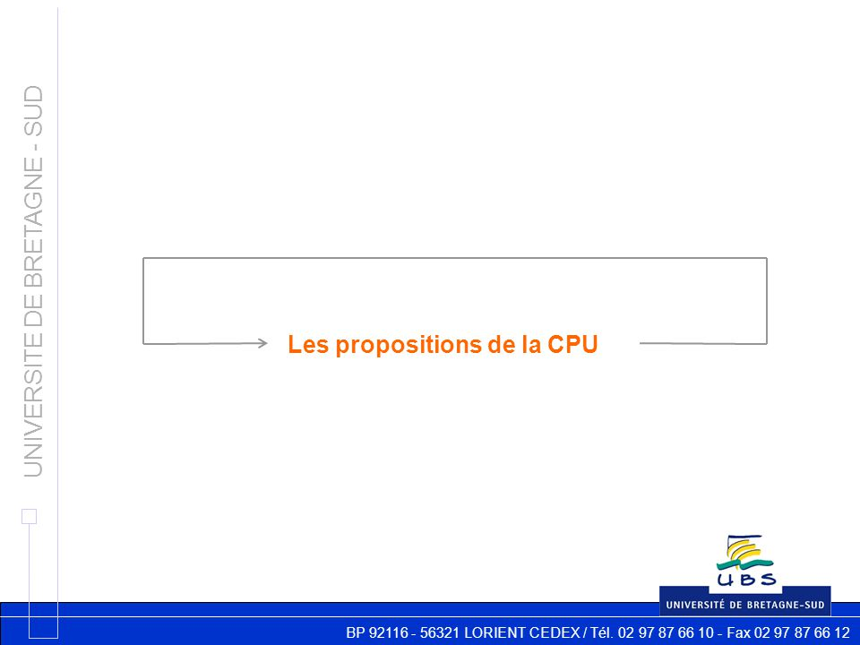 BP 92116 - 56321 LORIENT CEDEX / Tél. 02 97 87 66 10 - Fax 02 97 87 66 12 UNIVERSITE DE BRETAGNE - SUD Les propositions de la CPU