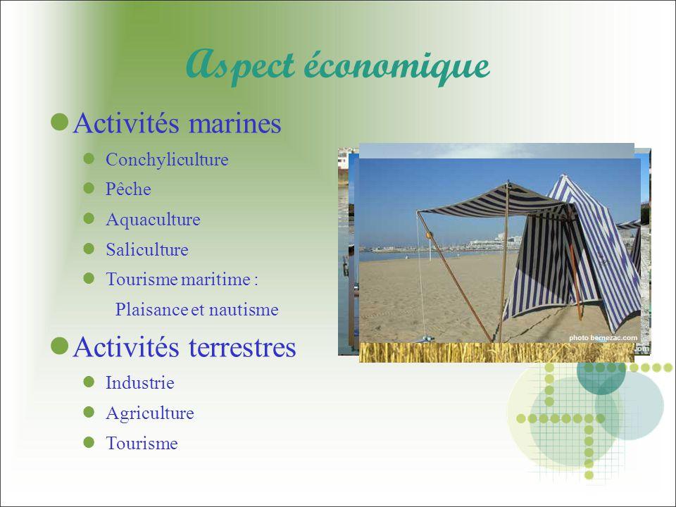 Aspect économique Activités marines Conchyliculture Pêche Aquaculture Saliculture Tourisme maritime : Plaisance et nautisme Activités terrestres Industrie Agriculture Tourisme