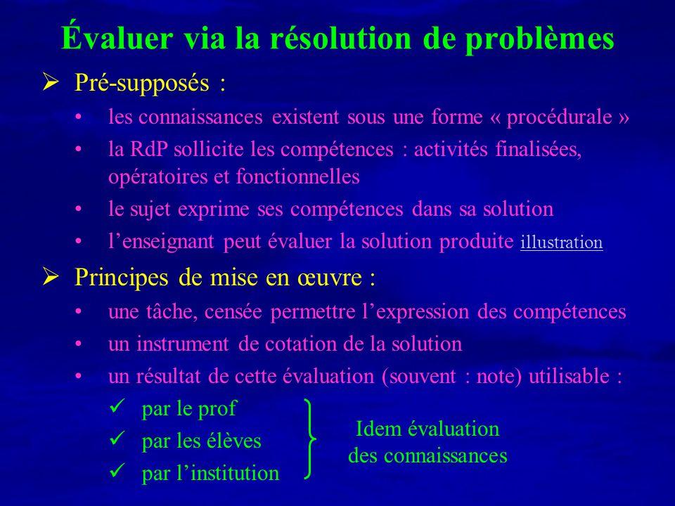 Évaluer via la résolution de problèmes Pré-supposés : les connaissances existent sous une forme « procédurale » la RdP sollicite les compétences : act