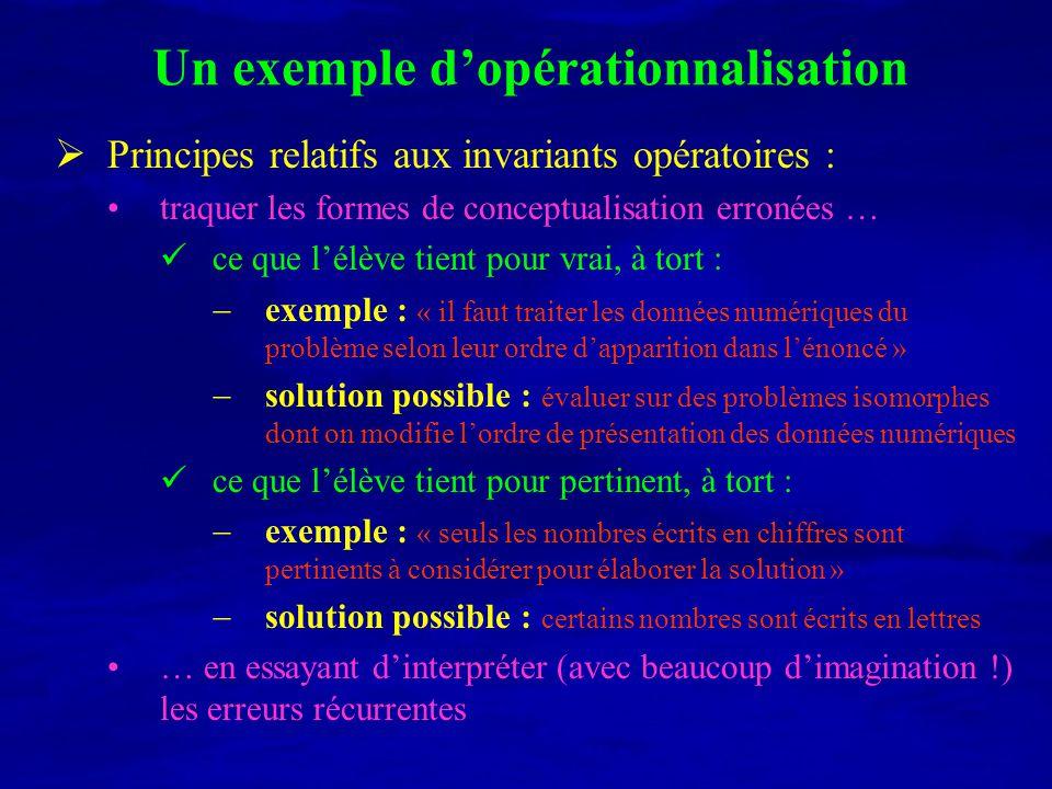 Un exemple dopérationnalisation Principes relatifs aux invariants opératoires : traquer les formes de conceptualisation erronées … ce que lélève tient