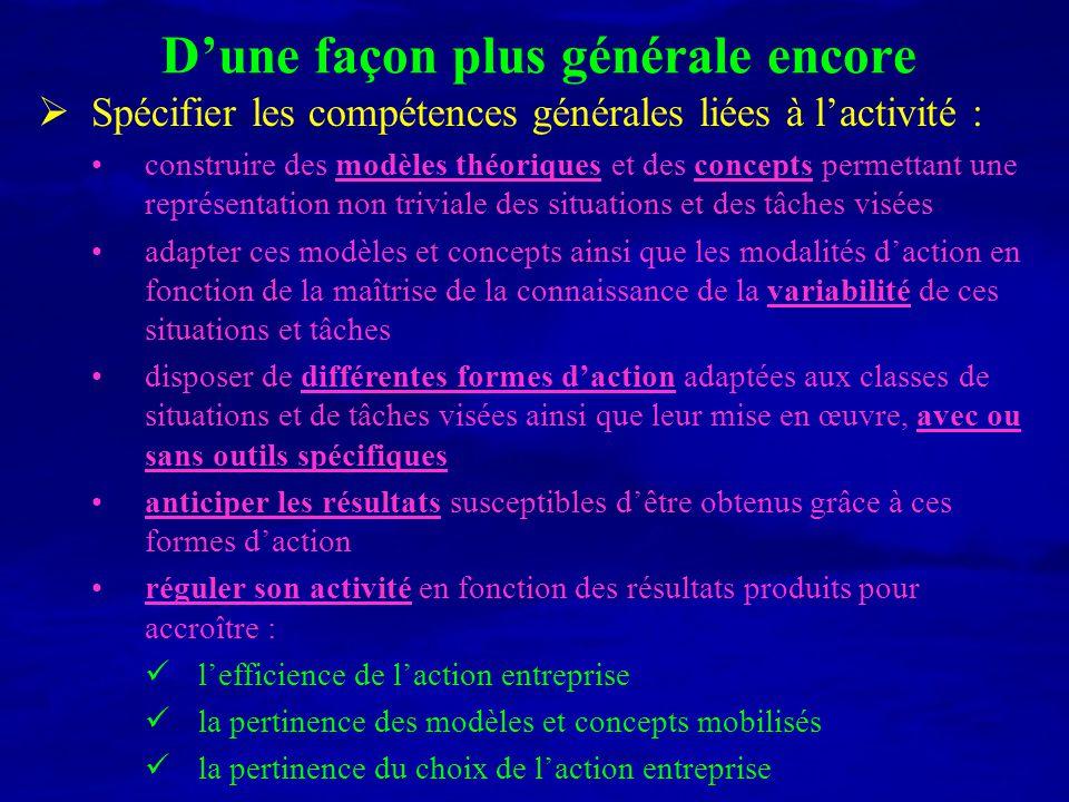 Dune façon plus générale encore Spécifier les compétences générales liées à lactivité : construire des modèles théoriques et des concepts permettant u