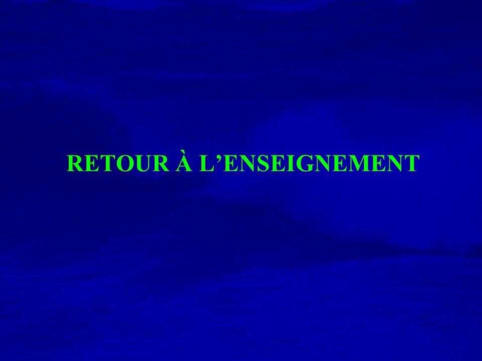 RETOUR À LENSEIGNEMENT