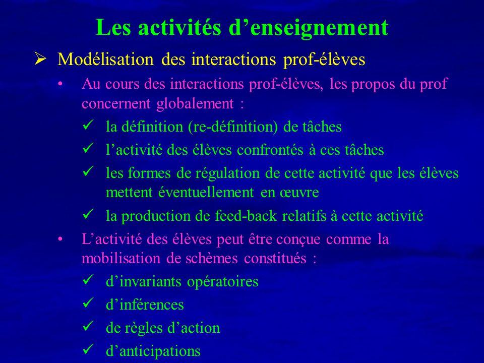 Les activités denseignement Modélisation des interactions prof-élèves Au cours des interactions prof-élèves, les propos du prof concernent globalement