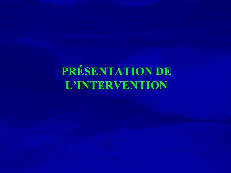 PRÉSENTATION DE LINTERVENTION