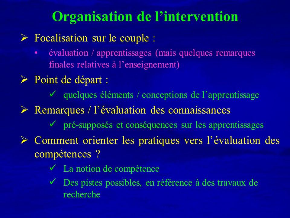 Organisation de lintervention Focalisation sur le couple : évaluation / apprentissages (mais quelques remarques finales relatives à lenseignement) Poi