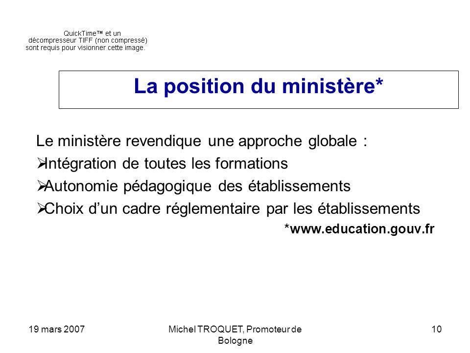 19 mars 2007Michel TROQUET, Promoteur de Bologne 10 La position du ministère* Le ministère revendique une approche globale : Intégration de toutes les