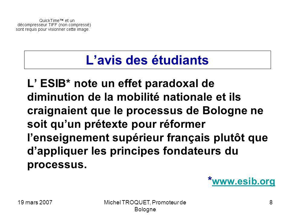19 mars 2007Michel TROQUET, Promoteur de Bologne 8 Lavis des étudiants L ESIB* note un effet paradoxal de diminution de la mobilité nationale et ils c