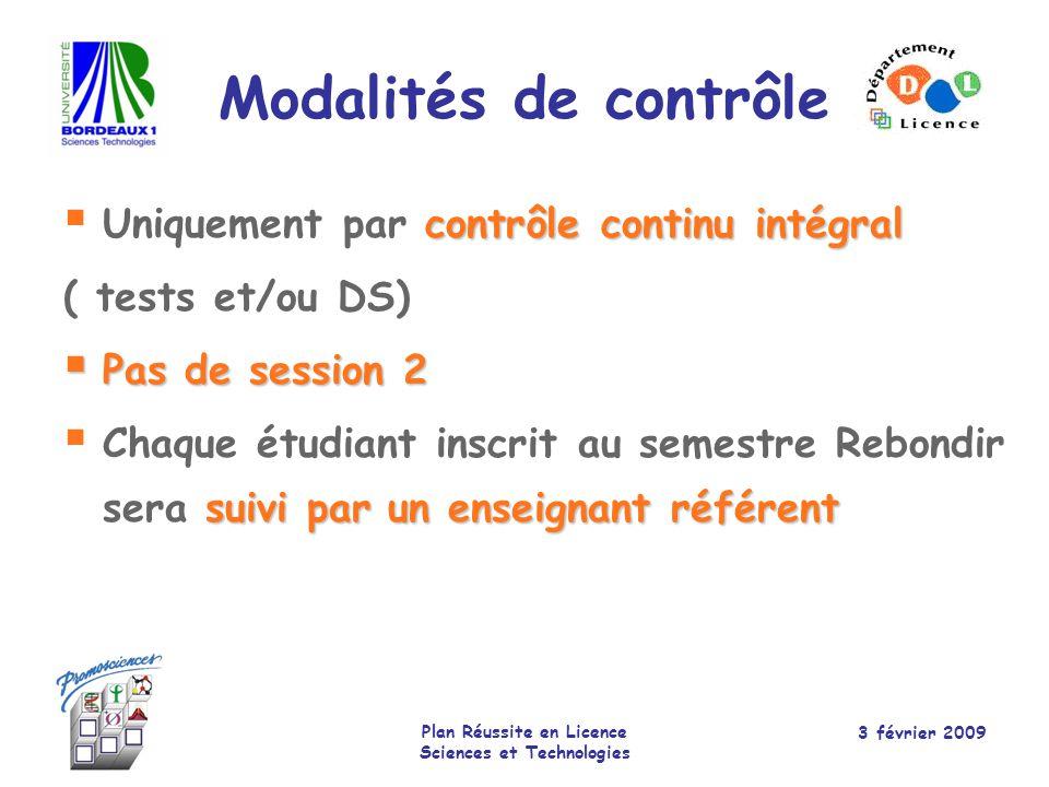 3 février 2009 Plan Réussite en Licence Sciences et Technologies Contenu du semestre Matières obligatoiresCoef.