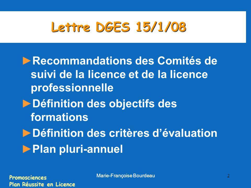 Promosciences Plan Réussite en Licence Marie-Françoise Bourdeau 2 Lettre DGES 15/1/08 Recommandations des Comités de suivi de la licence et de la lice