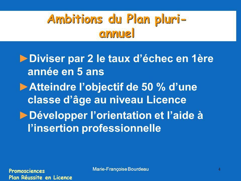Promosciences Plan Réussite en Licence Marie-Françoise Bourdeau 4 Ambitions du Plan pluri- annuel Diviser par 2 le taux déchec en 1ère année en 5 ans