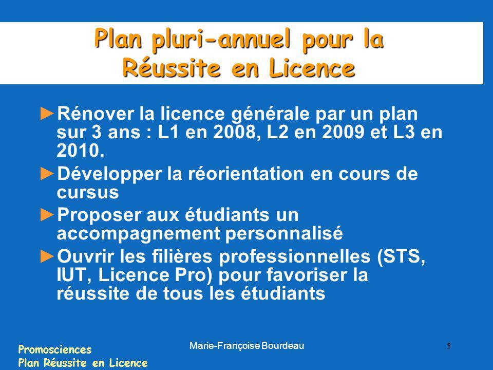 Promosciences Plan Réussite en Licence Marie-Françoise Bourdeau 5 Plan pluri-annuel pour la Réussite en Licence Rénover la licence générale par un pla