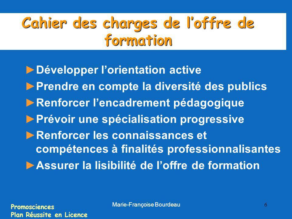 Promosciences Plan Réussite en Licence Marie-Françoise Bourdeau 6 Cahier des charges de loffre de formation Développer lorientation active Prendre en