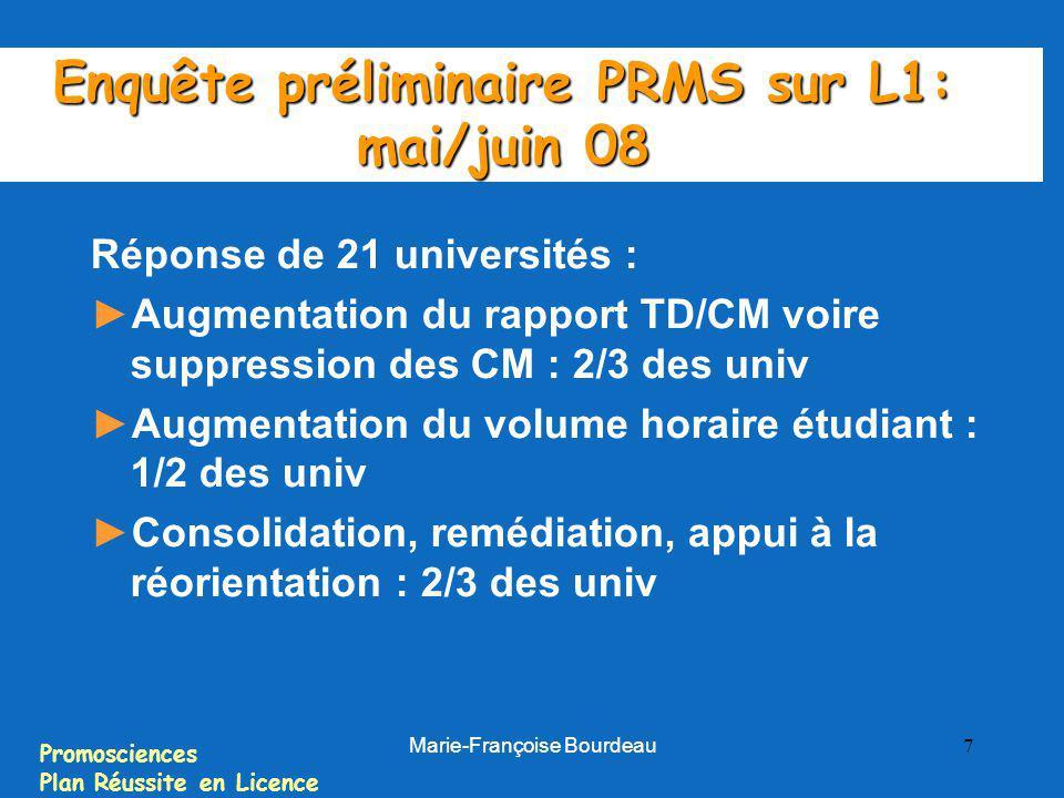 Promosciences Plan Réussite en Licence Marie-Françoise Bourdeau 7 Enquête préliminaire PRMS sur L1: mai/juin 08 Réponse de 21 universités : Augmentati