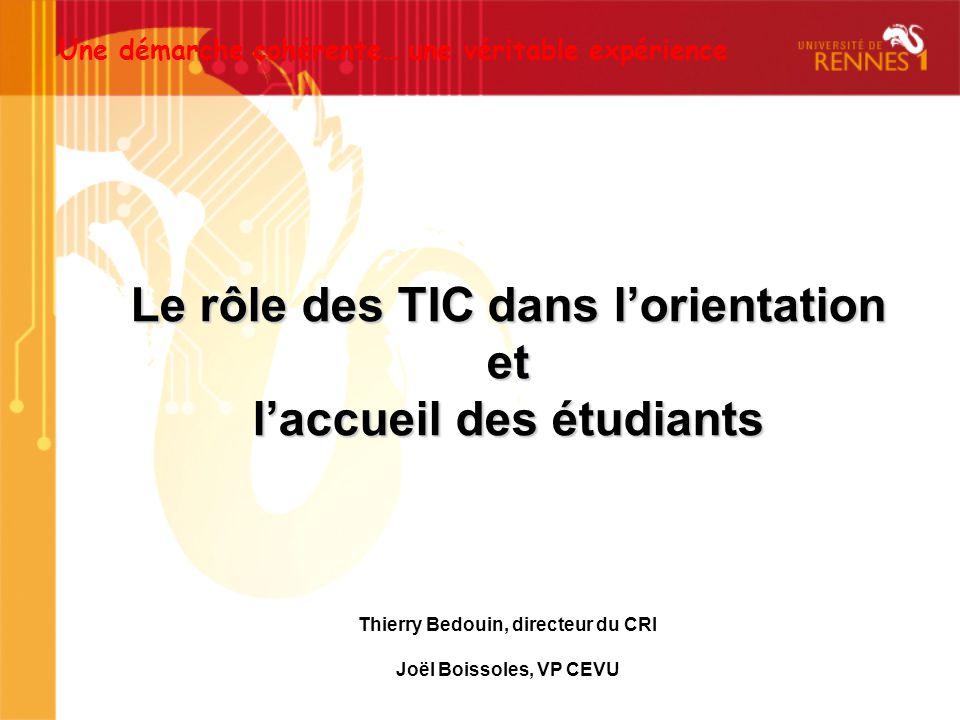 Le rôle des TIC dans lorientation et laccueil des étudiants Une démarche cohérente… une véritable expérience Thierry Bedouin, directeur du CRI Joël Bo