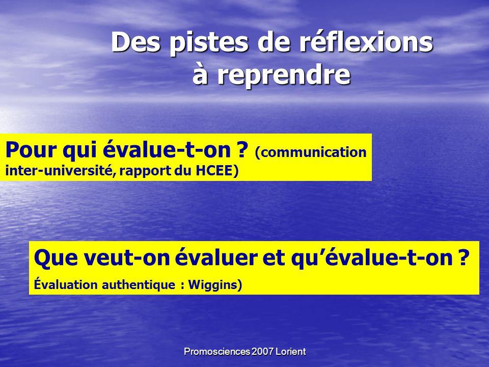Promosciences 2007 Lorient Des pistes de réflexions à reprendre Pour qui évalue-t-on .