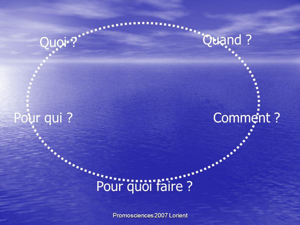 Promosciences 2007 Lorient Quoi Quand Comment Pour quoi faire Pour qui