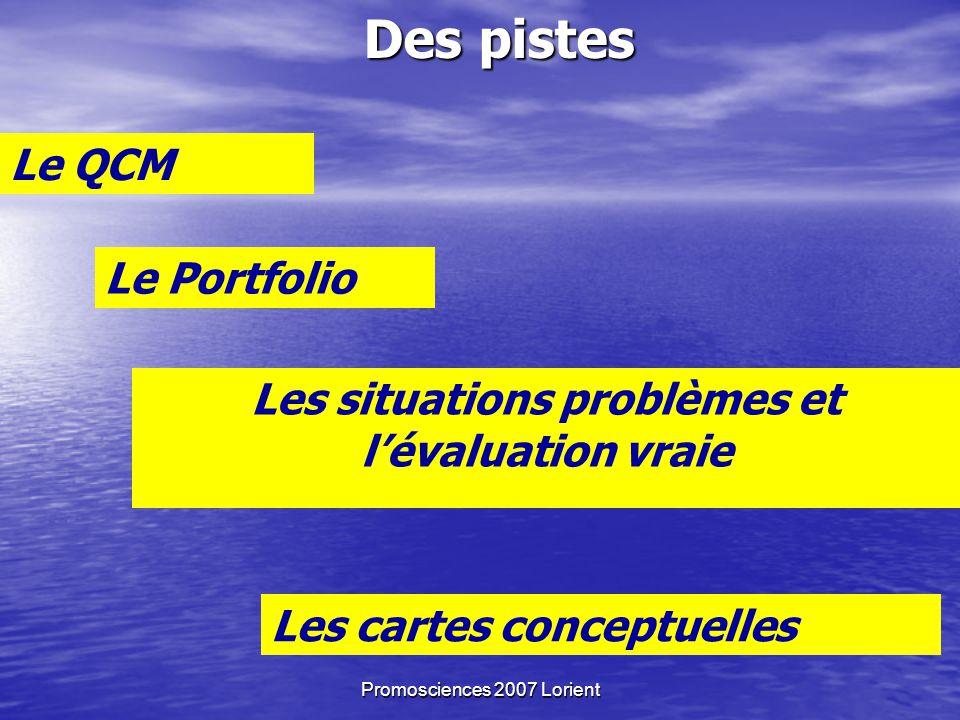 Promosciences 2007 Lorient Des pistes Le QCM Le Portfolio Les situations problèmes et lévaluation vraie Les cartes conceptuelles