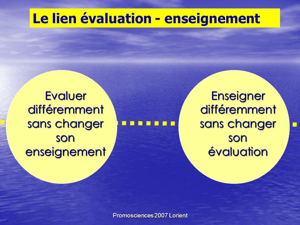 Promosciences 2007 Lorient Le lien évaluation - enseignement Evaluer différemment sans changer son enseignement Enseigner différemment sans changer son évaluation