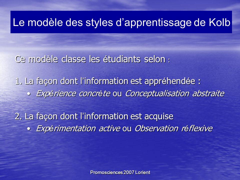 Promosciences 2007 Lorient Ce mod è le classe les é tudiants selon : 1.